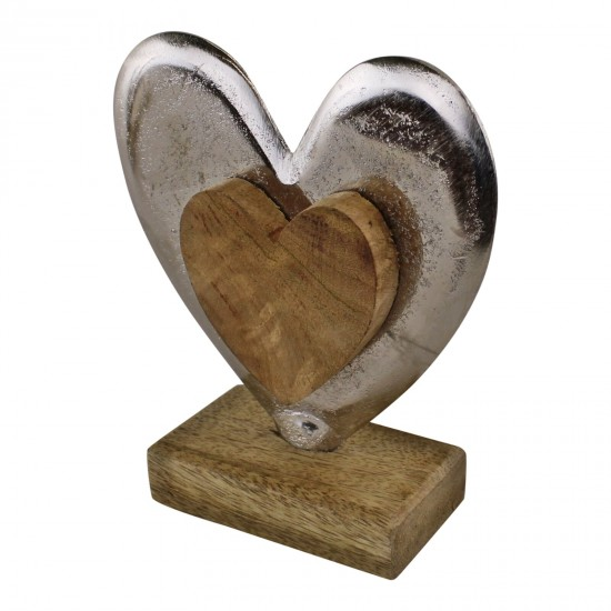 Metal and Wood Standing Heart Decoration