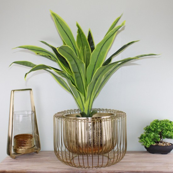 Large Gold Metal Wire Planter or Bowl