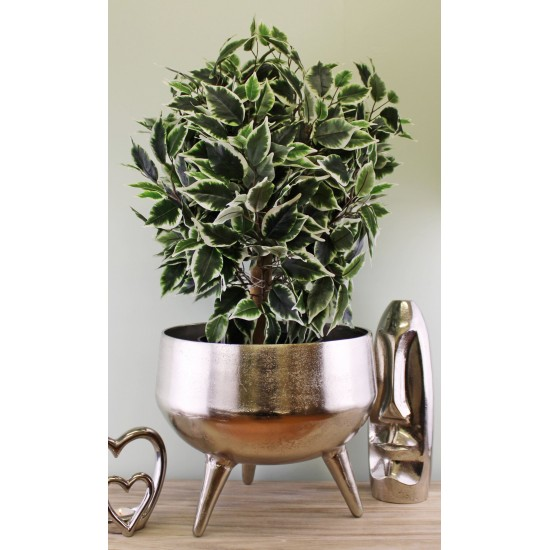 Silver Metal Planter/Bowl With Feet, 35cm