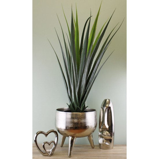 Silver Metal Planter/Bowl With Feet, 27cm