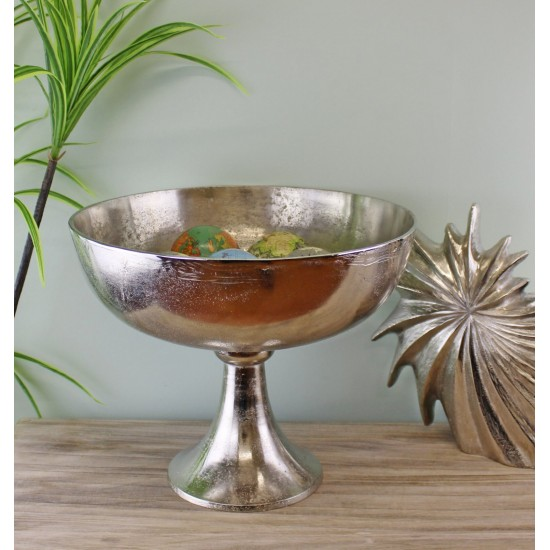 Silver Metal Bowl On Stand, 35x29cm