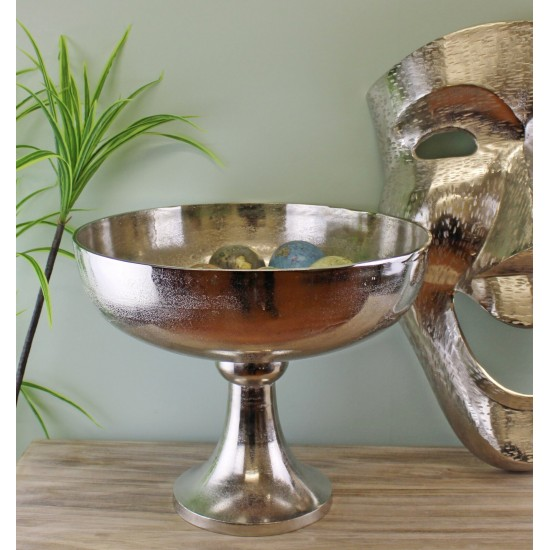 Silver Metal Bowl On Stand, 42x35cm