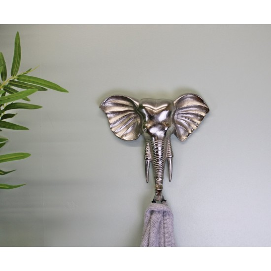 Decorative Silver Elephant Wall Hanging Hook
