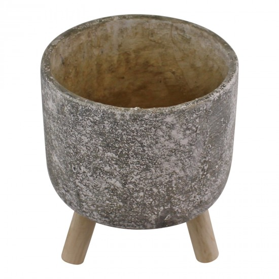 Small Grey Cement Planter With Wooden Legs, 15cm diameter
