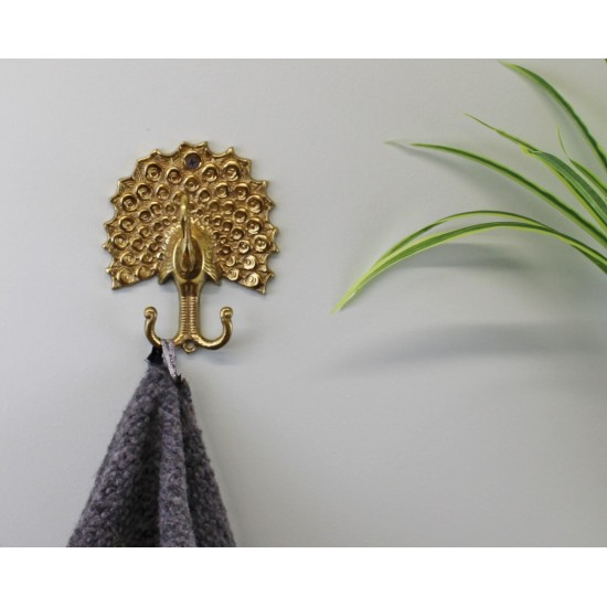 Small Gold Metal Peacock Double Coat Hook