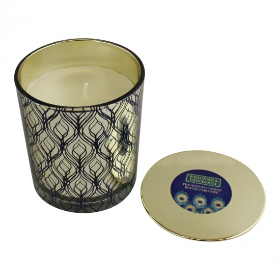 Large Peacock Glass Candlepot With Lid, Wild Pear & Patchouli