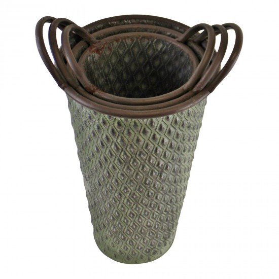Set of 3 Tall Zinc Planters in Green