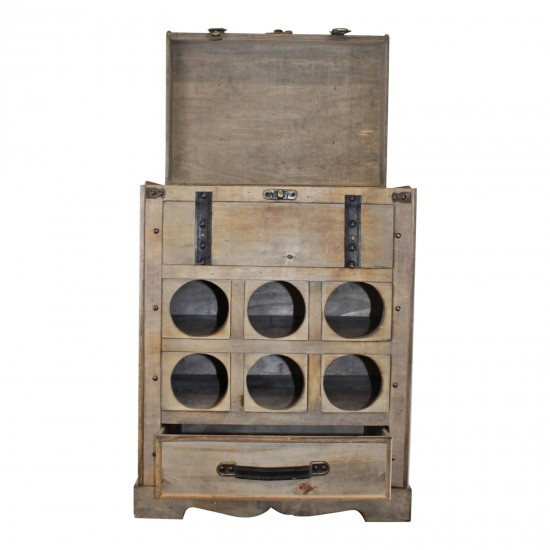 Large Chest Style Wine Holder With Storage