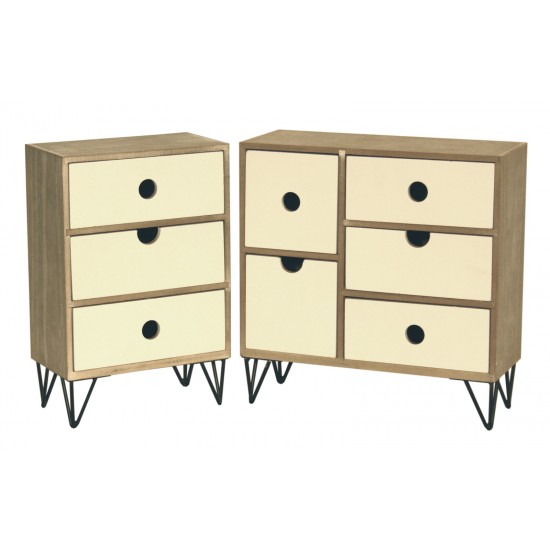 Rustic 5 Drawer Table Top Cabinet W/ Wire Legs