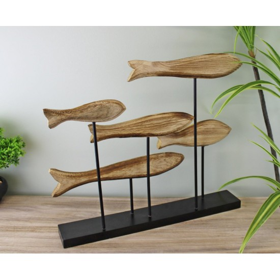 Large Wooden Swimming Fish Sculpture