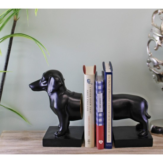 Sausage Dog Bookends, Black Finish