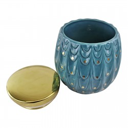 Ceramic Peacock Trinket Pot With Lid