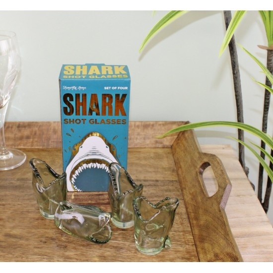 Set of 4 Shark Design Shot Glasses