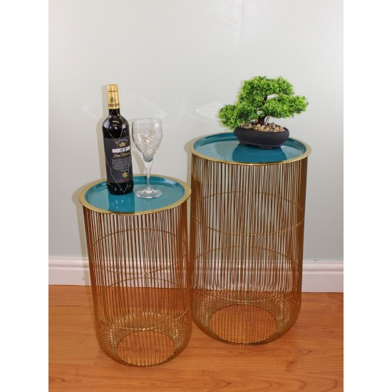 Set of 2 Decorative Side Tables in Gold & Teal