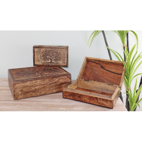 Set Of 3 Tree Of Life Wooden Boxes