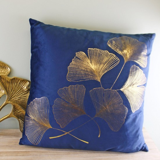 Scatter Cushion With Gold Lotus Leaf Design In Blue