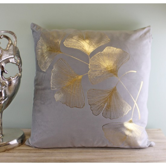 Scatter Cushion With Gold Lotus Leaf Design In Silver Grey