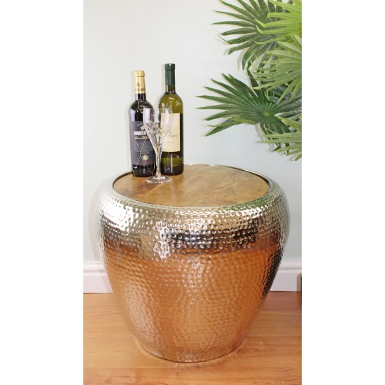 Metal Side Table With Wooden Top, 50cm High
