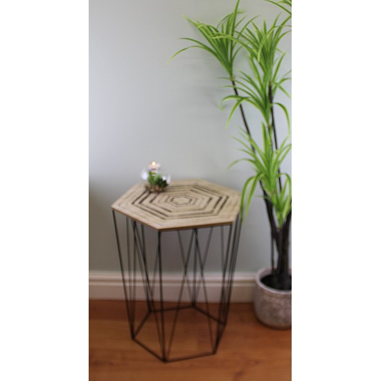 Hexagonal Side Table With Wire Base & Patterned Top