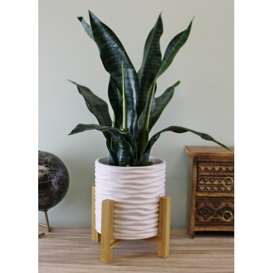 Small White Stoneware Planter On Wooden Stand