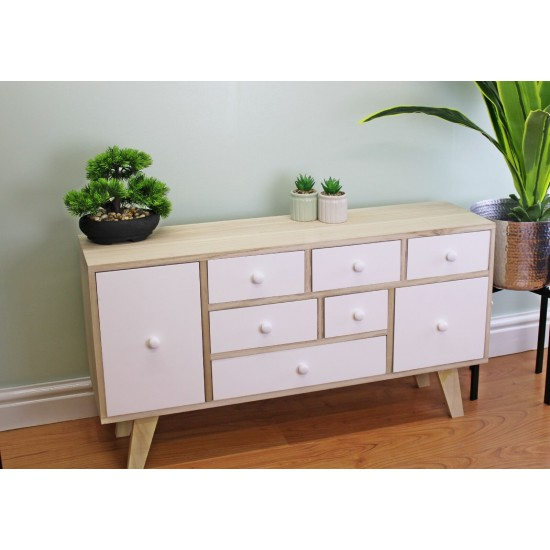 8 Drawer White & Wooden Storage Unit