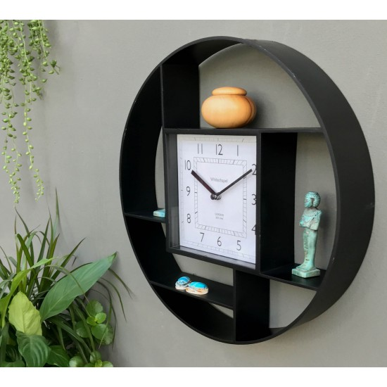 Black Plastic Wall Hanging Shelf Unit With Clock