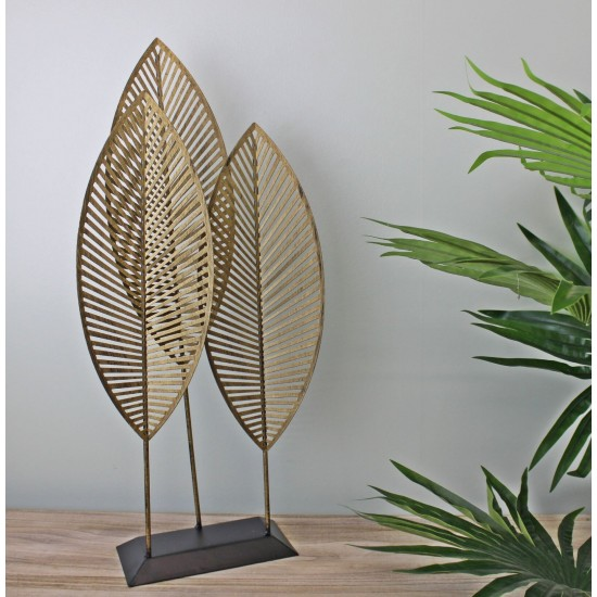 Three Leaf Metal Standing Ornament, 51cm.