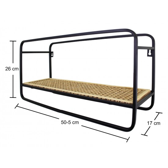 Small Wall Hanging Shelf Unit in Metal Weave Effect