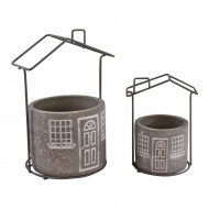 Set of 2 Cement House Planters, Round