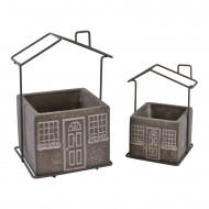 Set of 2 Cement House Planters, Square