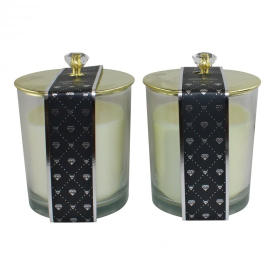 Set of 2 Glass Candle Jars with Diamond Style Lids, Fragranced