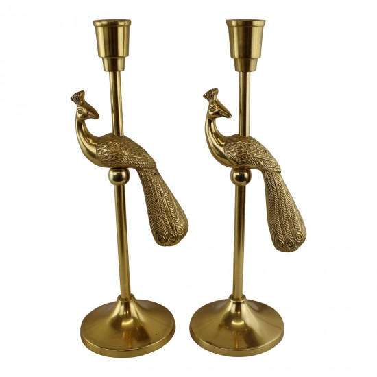 Set Of 2 Gold Metal Peacock Candle Holders
