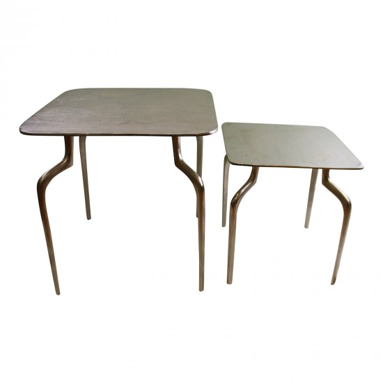 Set of 2 Square, Silver Metal Side Tables