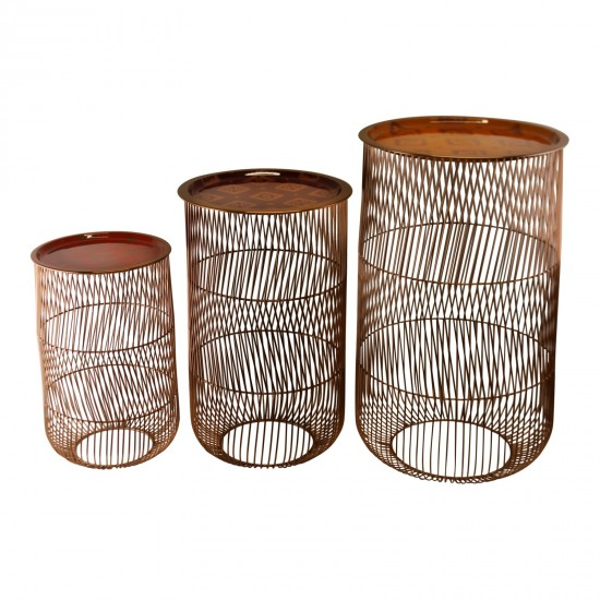 Set of 3 Kasbah Wire Tables, Design A