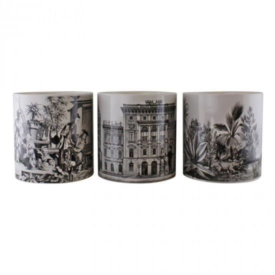 Set of 3 Monochrome Ceramic Large Planters