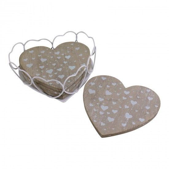 Set Of 4 Heart Shaped Coasters In Wire Holder
