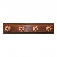 Set of 4 Kasbah Design Coat Hooks On Wooden Base