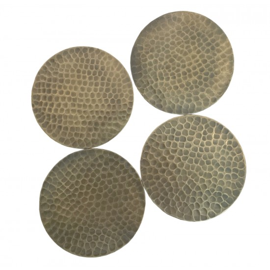 Set Of Four Hammered Gold Coloured Coasters