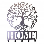 Silver Metal Wall Plaque Tree of Life Featuring Hooks