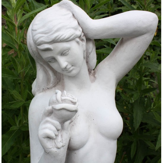 Stone Effect Lady With Rose Statue