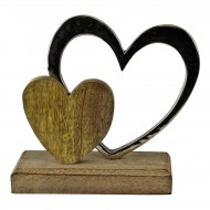 Small Double Heart On Wooden Base Ornament