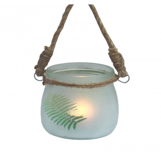 Small Frosted Glass Fern Candle Holder W/ Rope Handle