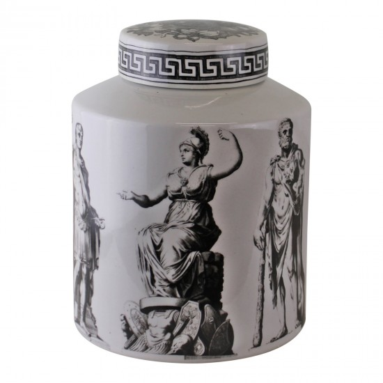 Small Round Grecian Style Porcelain Jar, Grecian Pottery