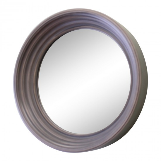 Small Round Grey Deep Edge Wall Mirror