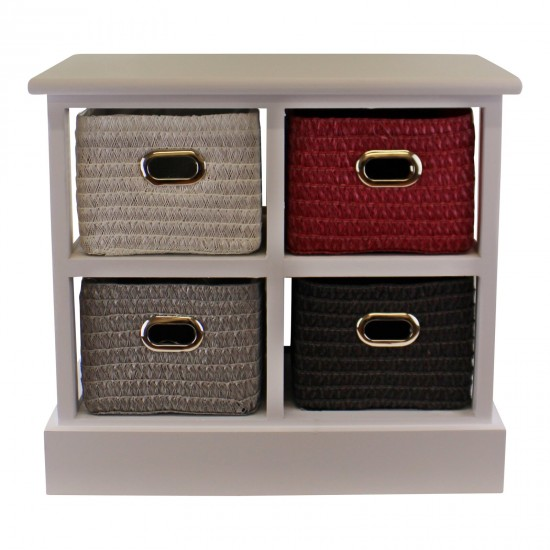Small Storage Unit With 4 Multicoloured Baskets