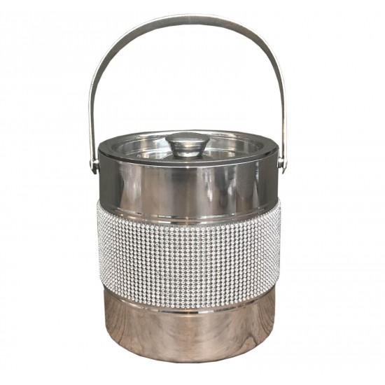 Stainless Steel Jewelled Ice Bucket W/ Handle