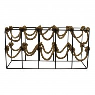 Ten Bottle Metal and Rope Wine Rack Freestanding