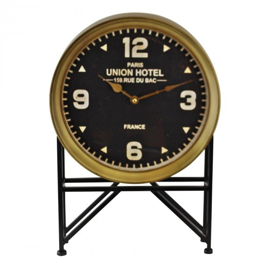 Vintage French Style Freestanding Clock on Iron Stand