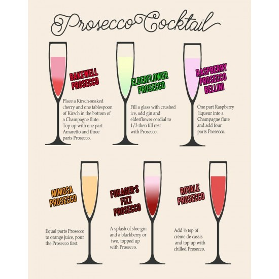 Vintage Metal Sign - Classic Cocktail Prosecco Recipes