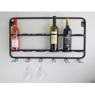 Wall Mounted Six Bottle And Wine Glass Holder